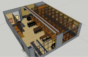 3D rendering of the Dueling Axes interior layout