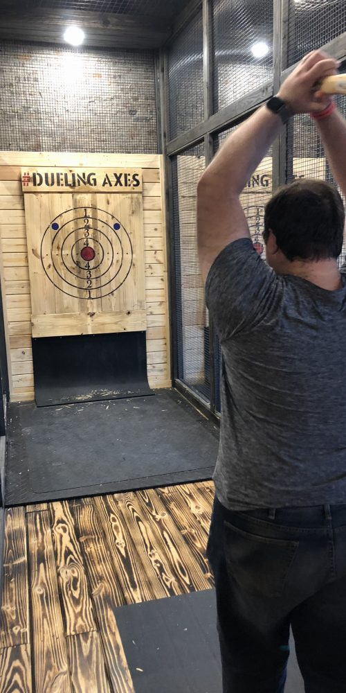 two handed axe throwing technique