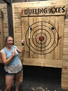 Axe throwing blue dot