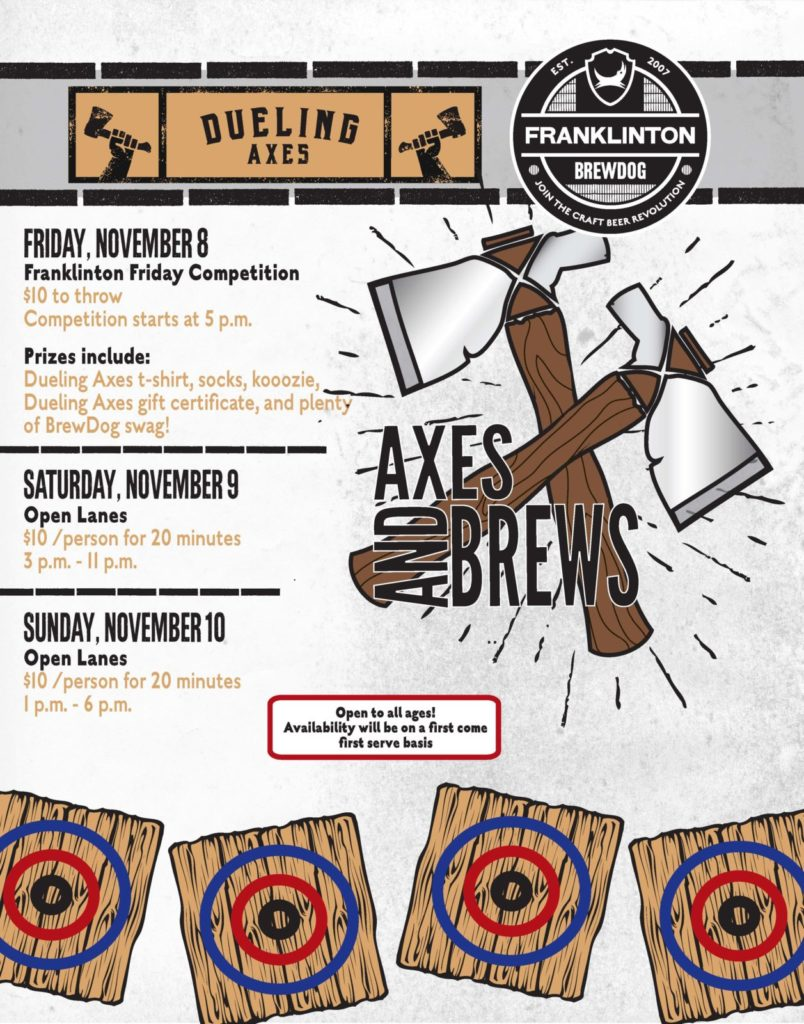 axes and brews at brewdog franklinton poster