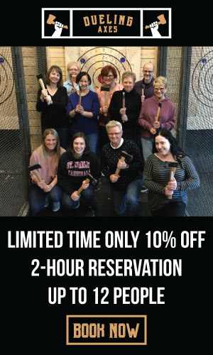 10% off axe throwing group