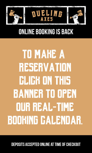 Online axe throwing reservation