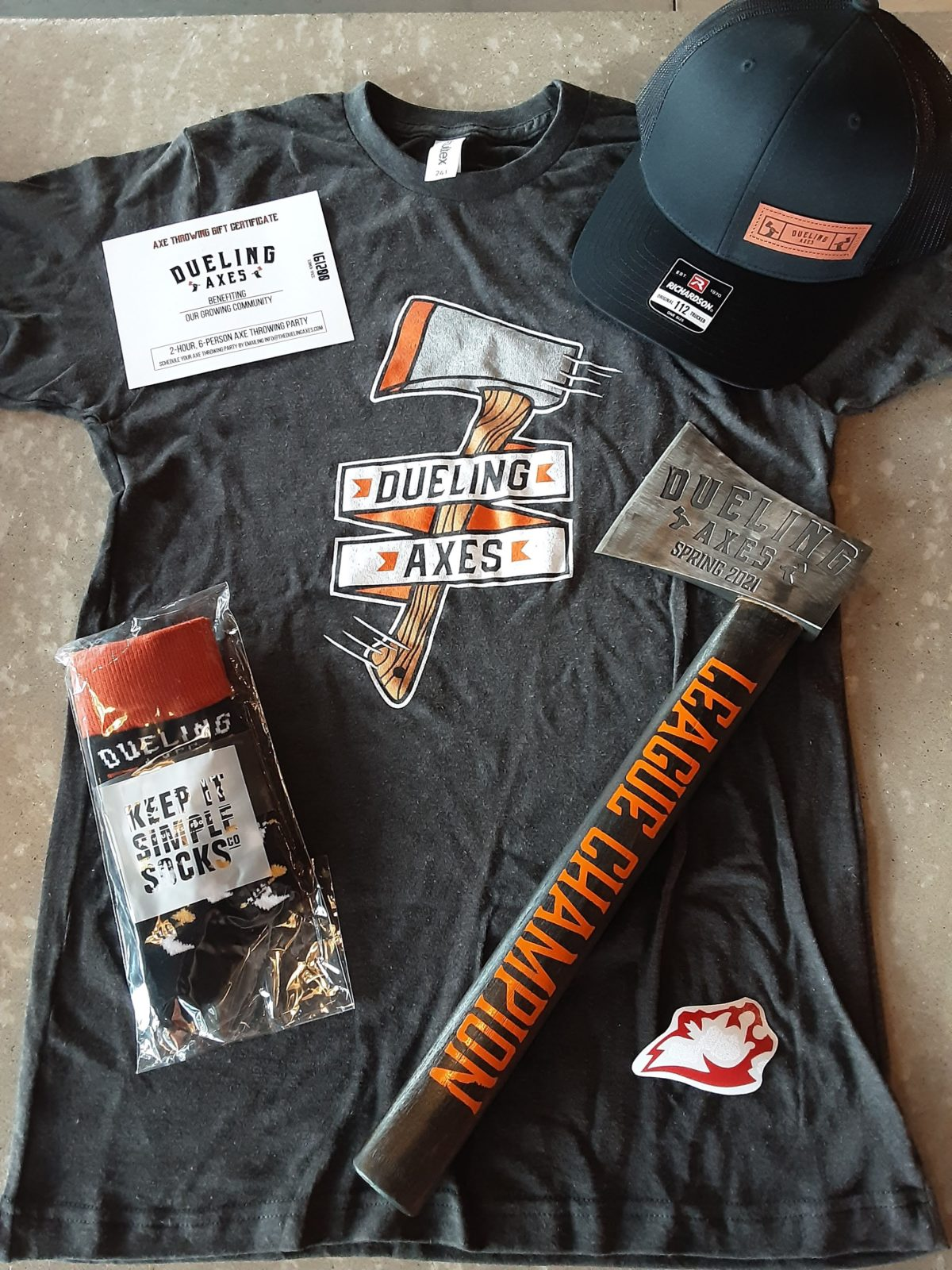 axe throwing league prize pack